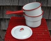Cute little vintage red and white enamelware double boiler with lid.