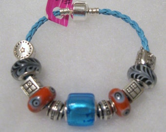 171 - Black Orange Aqua Beaded Bracelet