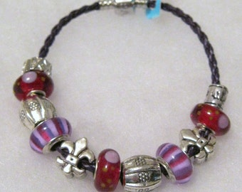 228 - CLEARANCE - Red & Lavender Bracelet