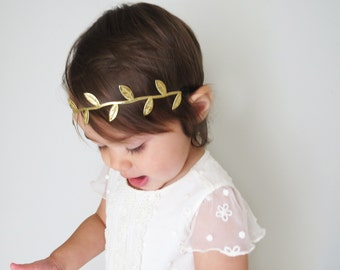 Gold Boho Headband - Gold Halo - Gold Leaf Headband - Baby/Toddler/Girls/Adult