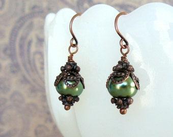 Vintage Style Green Pearl Earrings, Grass Green Pearl Dangles, Fairytale Jewelry, Romantic Jewelry, Rustic Green and Copper Drop Earrings