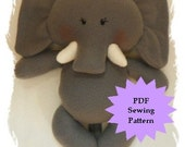 Elephant Plushie PDF Sewing Pattern - Softie, Plushie, Stuffed Animal Toy Pattern - Instant Download, DIY