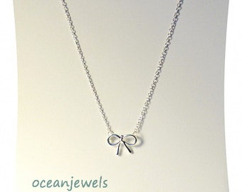 Silver Bow Necklace - Best Friend Necklace - Bow Necklace - Bff Necklace - Small Necklace - Dainty Necklace - Cyber Monday