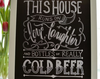 Beer, Beer Sign, Kitchen Print, Beer Lovers, Kitchen Quote, Bar Decor, Kitchen Chalkboard , Chalkboard Sign, Chalk Art - Bar Print