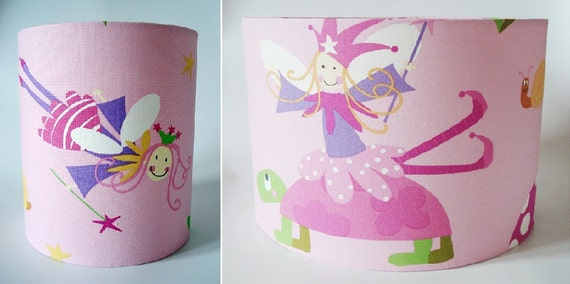 Pink wonderland fairies girls lampshade in ceiling or bedside options