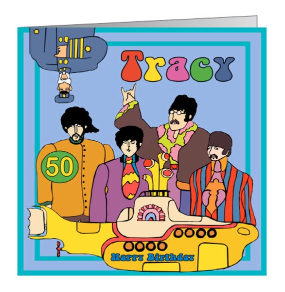 Beatles Yellow Submarine Personalised Birthday Card – Beatles Birthday Cards