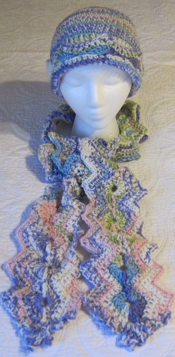 Free Crochet Pattern Multi Colored Hat : Crochet Hat and Scarf Multi Color in Pastels Very by ...