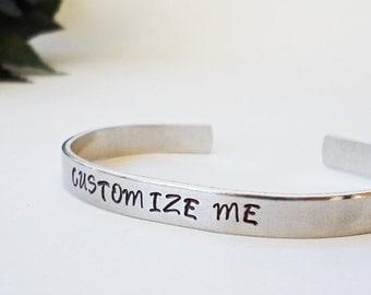 Custom Bracelet Cuff - Personalized Bracelet - Custom Cuff - Handstamped Cuff - Girlfriend Gift - Aluminum Cuff-Adjustable Cuff-Mother Gift