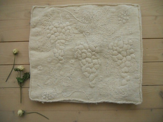 Scandinavian Pillow Case : Swedish vintage embroidered pillow case Shabby off white