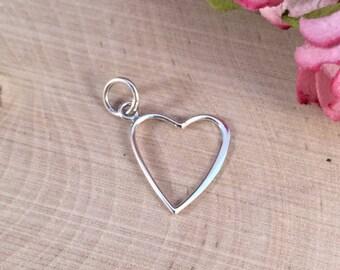 Heart Charm, Heart Pendant, Open Heart Charm, Silver Heart Charm, Heart Cut Out Charm, Sterling Silver Charm, PS0148
