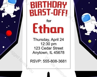 Space Shuttle Birthday Invitation - printable design, customizable, instant download For Boys or Girls Astronaut Birthday Party