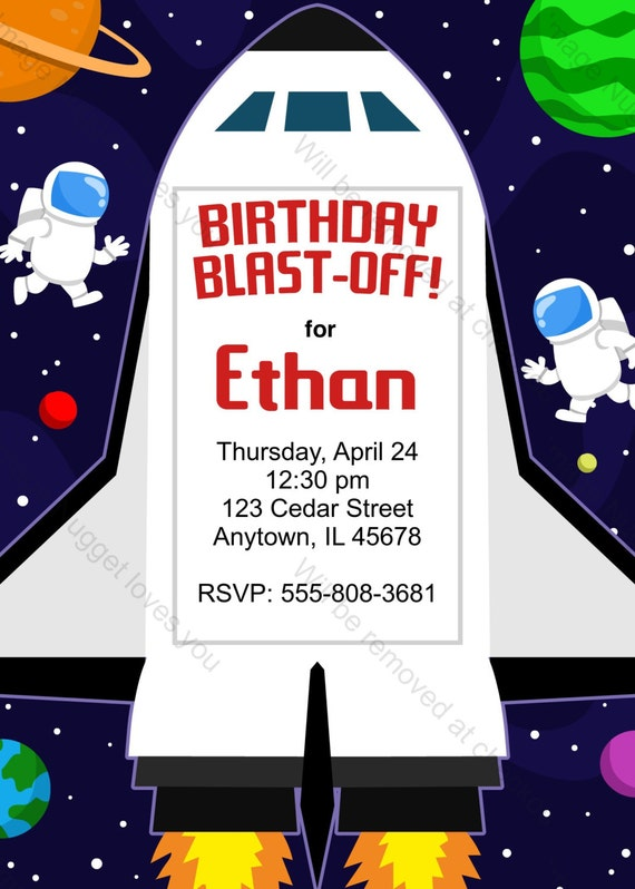 Space Shuttle Birthday Invitation printable design – Space Party Invitations