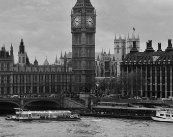 Big Ben and Parliament From Across the Thames River - London, England, United Kingdom - Black & White 8x10 Photo City Art Picture