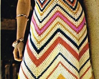 VCP315 ladies maxi dress  crochet summer wear  for ladies vintage pattern PDF instant download