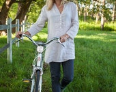 linen tunic shirt, women's  coverup made in USA , made in maine