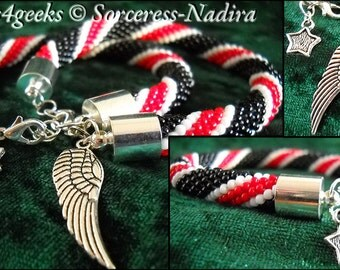 mass effect n7 line beaded bracelet by beads4geeks on etsy