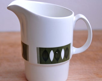 Mid Century Modern Milk Jug Green Leaf Design - Made in England