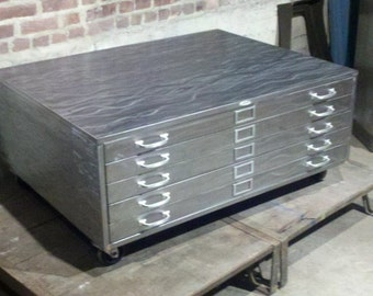 Vintage Brushed Steel Flat Map File Coffee Table