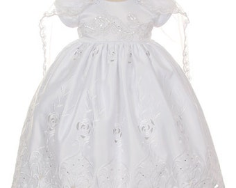 Simple and Elegant White Baptism Dress