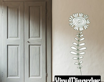 Floral Flower Wall Decal - Wall Fabric - Vinyl Decal - Removable and Reusable - FloralFlowerUScolor004ET