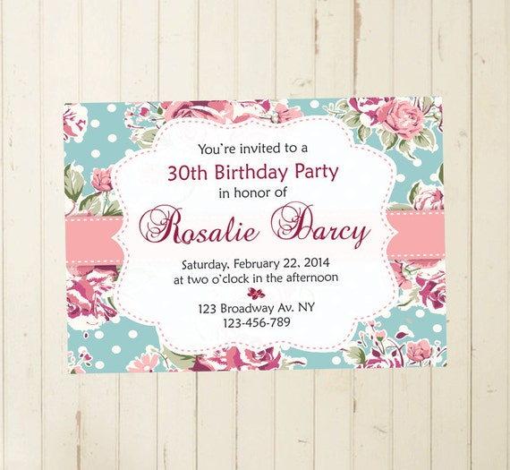 21st Birthday Invitation 30th 40th 50th 60th Women Cottage Chic Invite Tea Party Printable 108