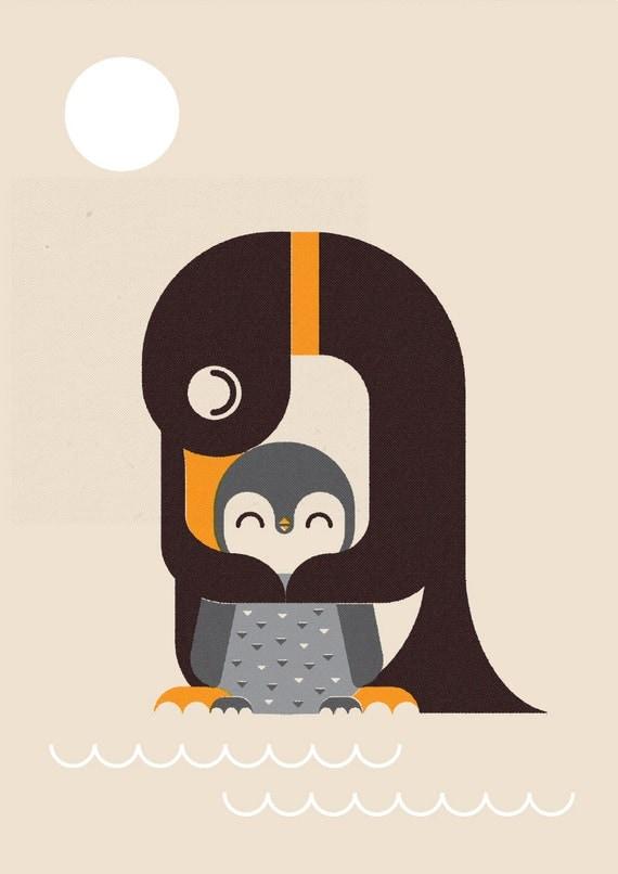 Penguin and Chick, Retro Print, Wall Art, Home Decor