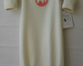 Organic Baby Sleep Gown/Pyjama-  natural, coral elephant appliqué, 0-3m, 3-6m, organic baby clothes, baby gift