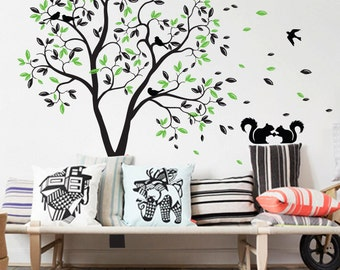 Tree wall decal with leaves, flying birds and cute squirrels, great nursery decoration Whimsical Baby room wall decor mural sticker 050