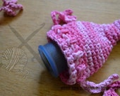Uterus Pouch - Crochet, Rose Petal, Pink, Menstrual Cup Cozy, Novelty, Coin Purse, Multi-use Pouch, Womb Pouch, Ready to Ship