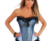 Burlesque Bows Strapless Corset w/Front Busk Closure & Lace-Up Back w/Thong Blue 2X - iDare