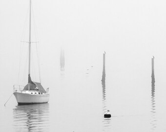 Landscape Photography, Sailboat, Fog, High Key, At Anchor, Hood Canal, Fine Art Black and White Photography, Wall Art, Wall Decor