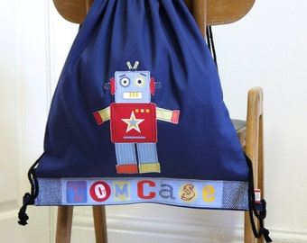 A personalised little boys robot bag