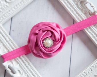 Baby Headband Hot Pink Rose Flower Vintage Headband Shabby Headband Baby Bows girl Headband Hair bow Flower Headband Newborn Headband