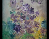 Lavender Purple Flower Garden Acrylic Art Painting - 16x20x1- Faces in the Clouds by Sherischart - Sheri Wilson