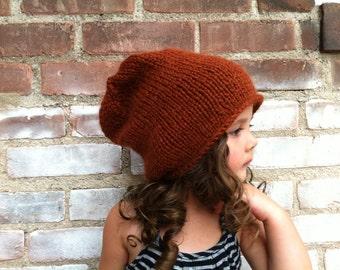 Alpaca Knit Beanie / Chestnut Knitted Slouchy Hat / 100% Baby Alpaca