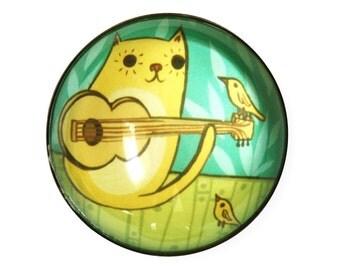 Cat Guitar Magnet - Housewarming gift for musician gift for music lover guitarist