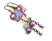 Butterfly Charm Dangle Altered Metal and Polymer Clay Earrings - Purple Copper Silver