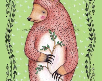 "Bear folk art print, ""Our Woodland Sentry, Roscoe"""