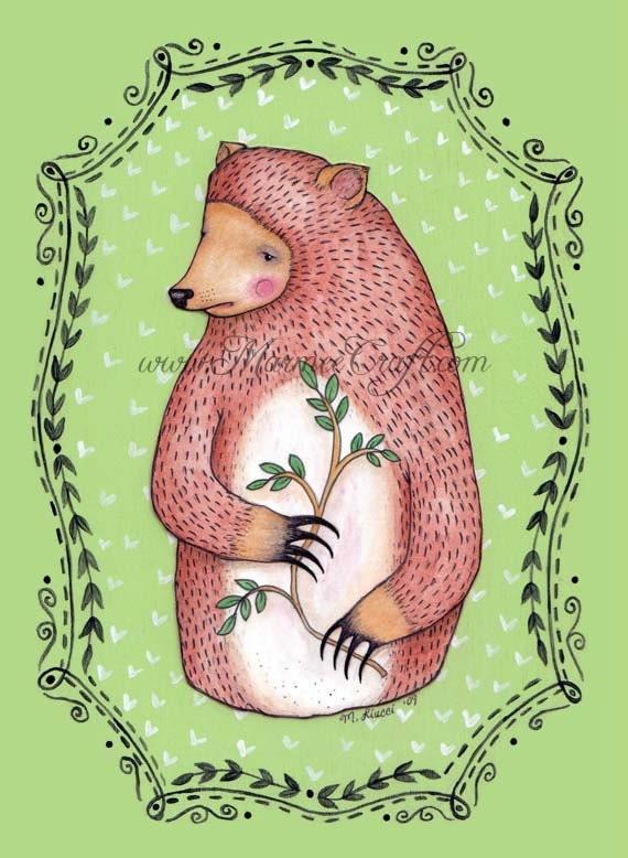 "Bear folk art print, ""Our Woodland Sentry, Roscoe"""