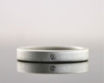Matte Finish Sterling Silver Diamond Ring - Eco Friendly Modern Engagement Ring - 3 mm Band - Simple Wedding Band