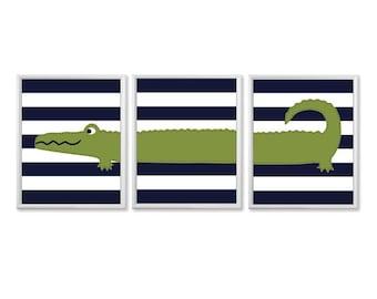 Navy and Green Alligator Nursery Art Set, Baby Boy Nursery Wall Art, Stripes, 8x10 Personalized Boys Room Decor, Alligator Bathroom