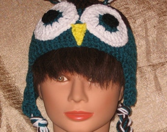 OWL HAT with Crocheted eyes