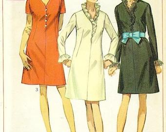 Simplicity 7845 A Line Dress circa 1968 with Neckline Ruffles