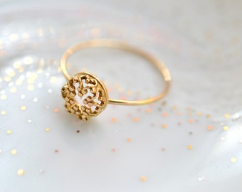 Mini Gold Crown. 14k solid gold ring. wedding band. engagement ring