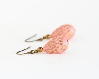 Peach Earrings, Boho Style Earrings, Peach and Gold, Bohemian Earrings, Beaded Earrings, Dangle Earrings, Gift For Woman, Gift For Her
