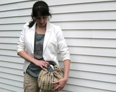 Raindrops Upholstery Remnant Handbag with Black Handles - Retro Modern Purse - Ready to Ship