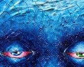BLUE ICE FACE 6x6 Acrylic Painting on Canvas