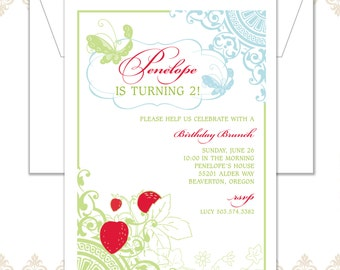 Strawberry Butterfly Birthday Invitation - Strawberry Party - Butterfly Birthday Invite - Vintage Party - Strawberry Invitation & Stationery