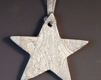 Silver Star Lace Star Christmas Ornament / Silver Star Christmas Ornament