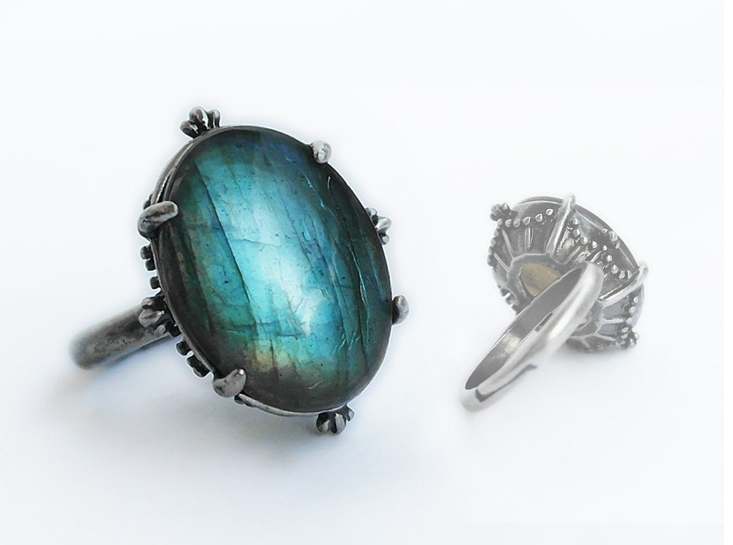 new labradorite ring blue silver engagement ring